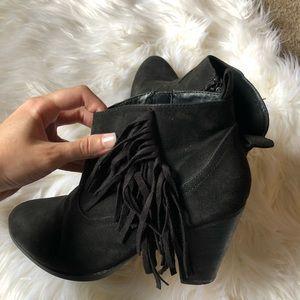Fringe bootie black heels